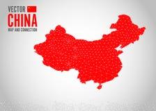 中国地图连接Trikle例证和背景 库存例证