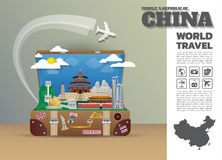 中国地标全球性旅行和旅途Infographic行李 3d 向量例证