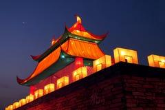 中国城堡夜视图 库存照片