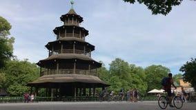 中国塔在慕尼黑,德国英国庭院里  影视素材