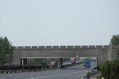 中国墙从沈阳的十字架高速公路 图库摄影
