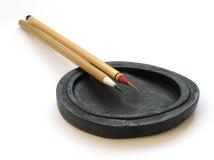 中国墨水油漆刷石头 免版税库存照片