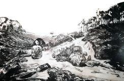 中国墨水绘画风景 向量例证