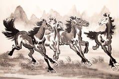 中国墨水马图画 免版税库存照片