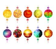 中国多角形灯笼收藏 春节和中间秋天节日 库存例证