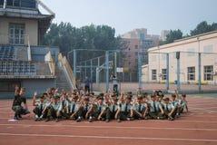中国大学生军事训练活动10 免版税库存照片