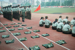 中国大学生军事训练活动13 免版税图库摄影