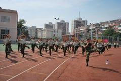 中国大学生军事训练15 免版税库存照片
