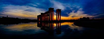 中国天津市风景--滨海大港地标--大学公园罗马专栏 免版税库存照片