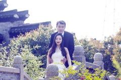 中国夫妇` s婚礼照片 免版税库存图片