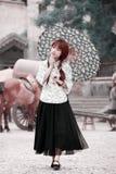 中国女孩街道 免版税库存图片