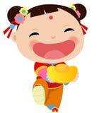 中国女孩-愉快的农历新年 免版税库存照片