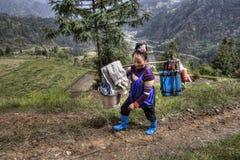 中国妇女农夫农民运载在您的肩膀的重量 免版税图库摄影