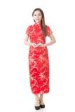 中国妇女礼服红色cheongsam 库存照片