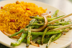 中国嫩煎的菜豆 图库摄影