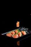 中国官员食物三文鱼生鱼片 免版税库存照片