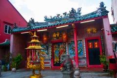 中国寺庙在唐人街 古晋,沙捞越 马来西亚 自治市镇 免版税库存照片