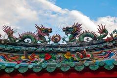 中国寺庙在唐人街 古晋,沙捞越 马来西亚 自治市镇 免版税图库摄影