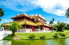 中国寺庙在轰隆痛苦中在阿尤特拉利夫雷斯泰国 库存图片