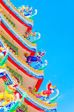 中国寺庙屋顶有美丽的天空的 免版税库存图片