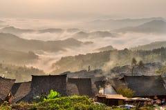 中国少数村庄的屋顶 免版税库存照片