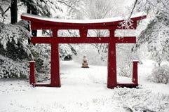 中国庭院冬天 免版税库存照片