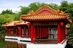 中国庭院湖边亭子新加坡 免版税图库摄影