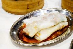 中国开胃菜, BBQ猪肉米卷 库存照片