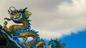 中国式屋顶龙雕象 时间间隔 影视素材