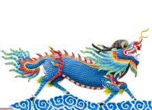 中国式蓝色龙雕象 免版税库存照片