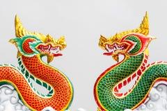 中国式龙雕象在泰国 库存照片