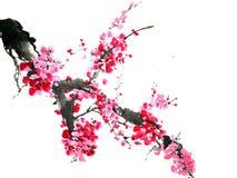 中国或日本墨水绘画 向量例证