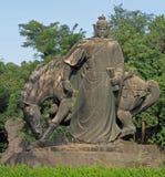 中国战士雕象有马的 库存照片