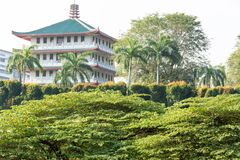 中国房子或大厦在一个公园在新加坡 免版税库存图片