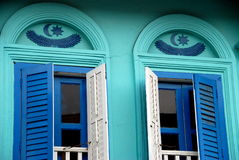 中国房子被恢复的界面新加坡 免版税库存照片