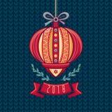 中国手电 2007个看板卡招呼的新年好 男孩节假日位置雪冬天 免版税库存照片