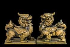 中国护符小雕象黑色背景 免版税图库摄影