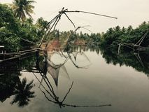 中国捕鱼网,喀拉拉,印度 免版税库存照片