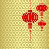 中国新年度红色灯笼背景 皇族释放例证