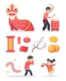 中国新年度 龙爆竹纸灯和愉快的孩子字符庆祝2019张传染媒介图片 向量例证