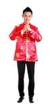 中国新年好 有congratul姿态的年轻亚裔人  免版税库存照片
