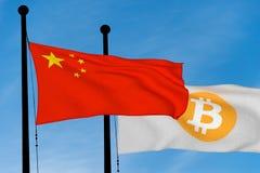 中国旗子和Bitcoin旗子 免版税库存照片