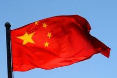 中国旗子在阳光下 免版税图库摄影