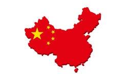 中国旗子地图 免版税库存图片