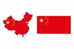 中国旗子地图 库存图片
