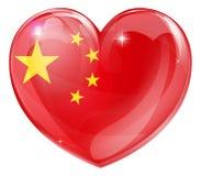 中国旗子爱心脏 库存例证