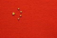 中国旗子,平的位置 免版税库存照片
