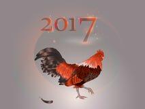 中国日历 雄鸡的年 2017年 库存图片