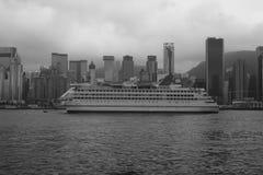 中国星巡航在香港,黑白色图象 库存图片
