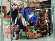中国服装店圣诞节装饰 免版税库存图片